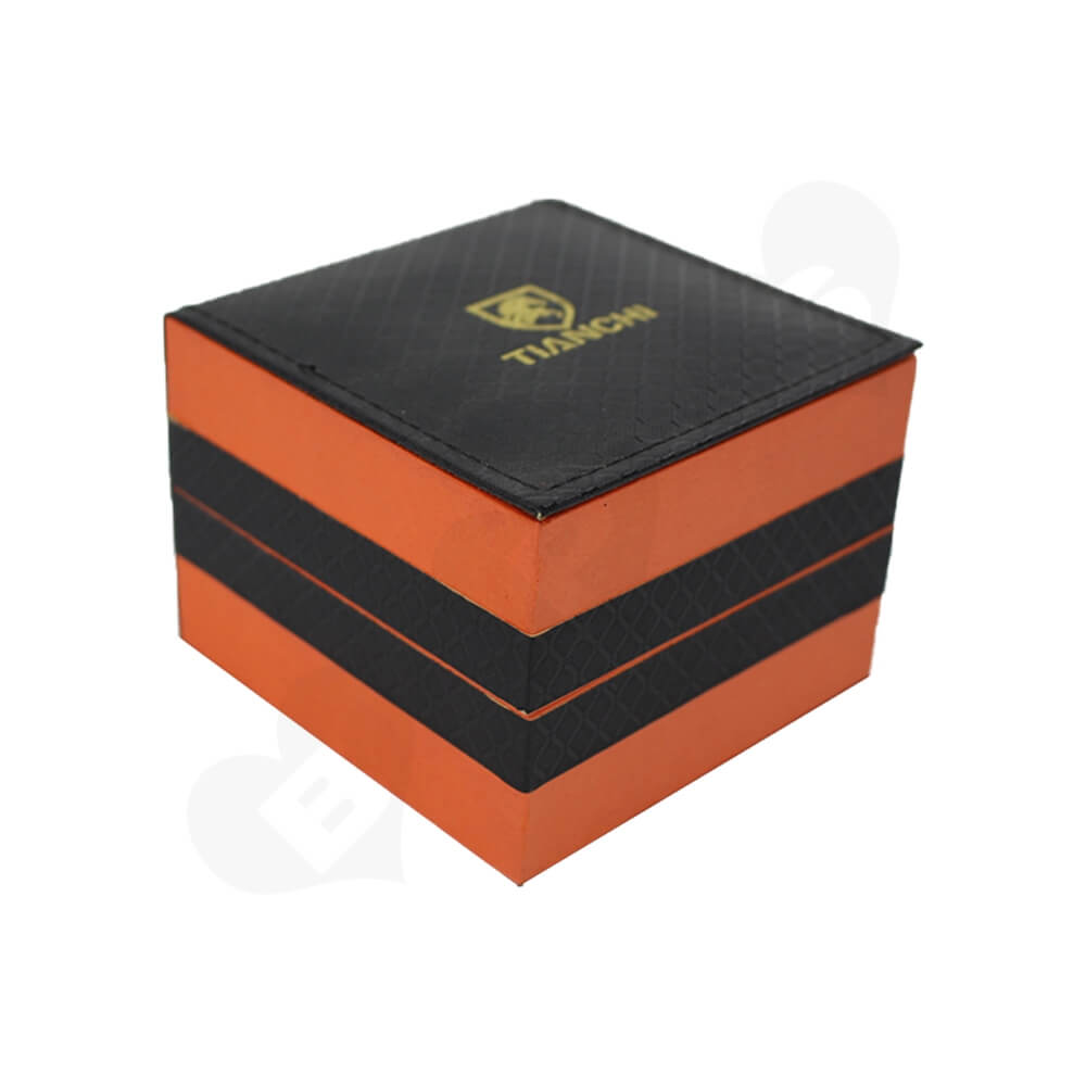 Hinged Lid Gift Box With Texture Pattern For Watch Side View One