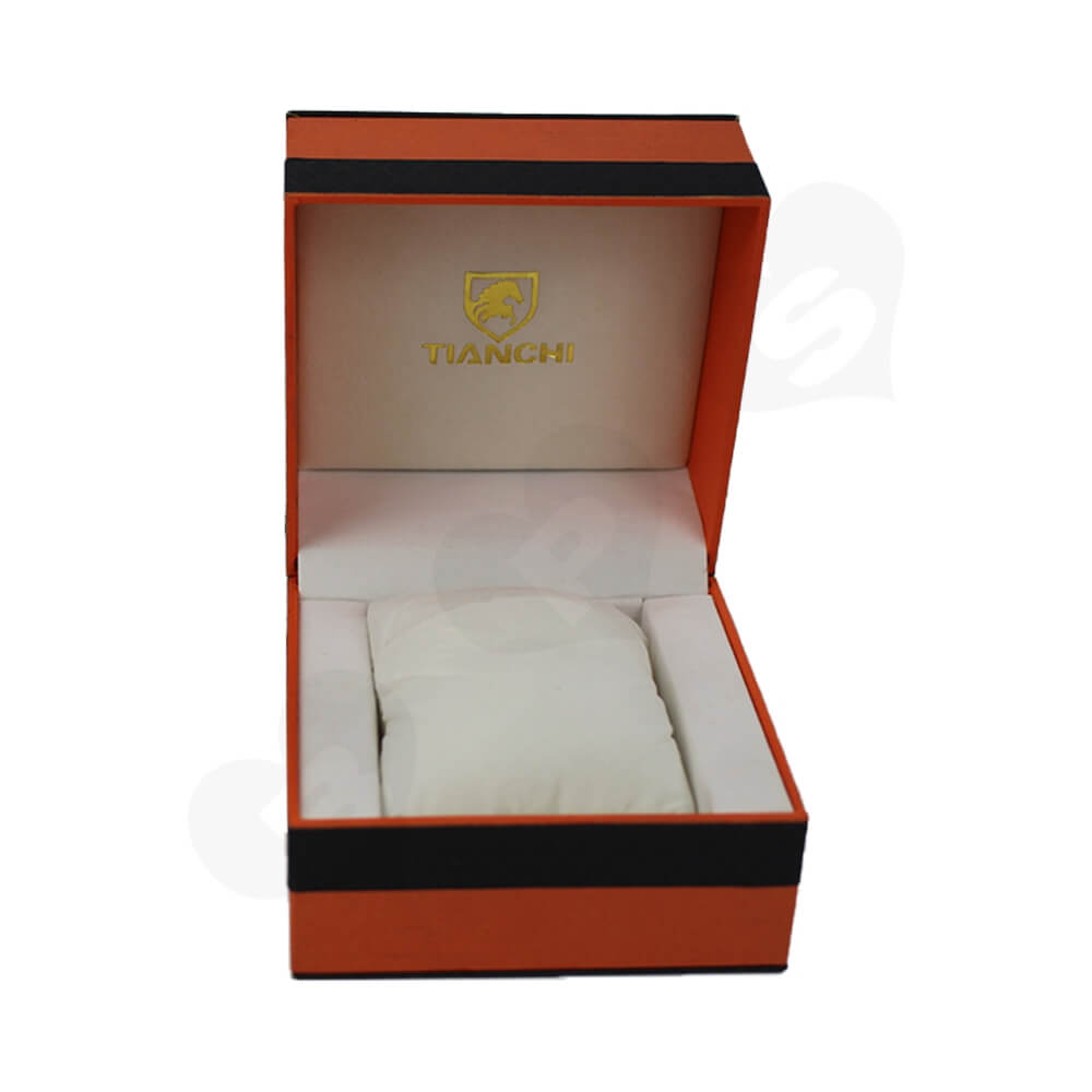 Hinged Lid Gift Box With Texture Pattern For Watch Side View Three