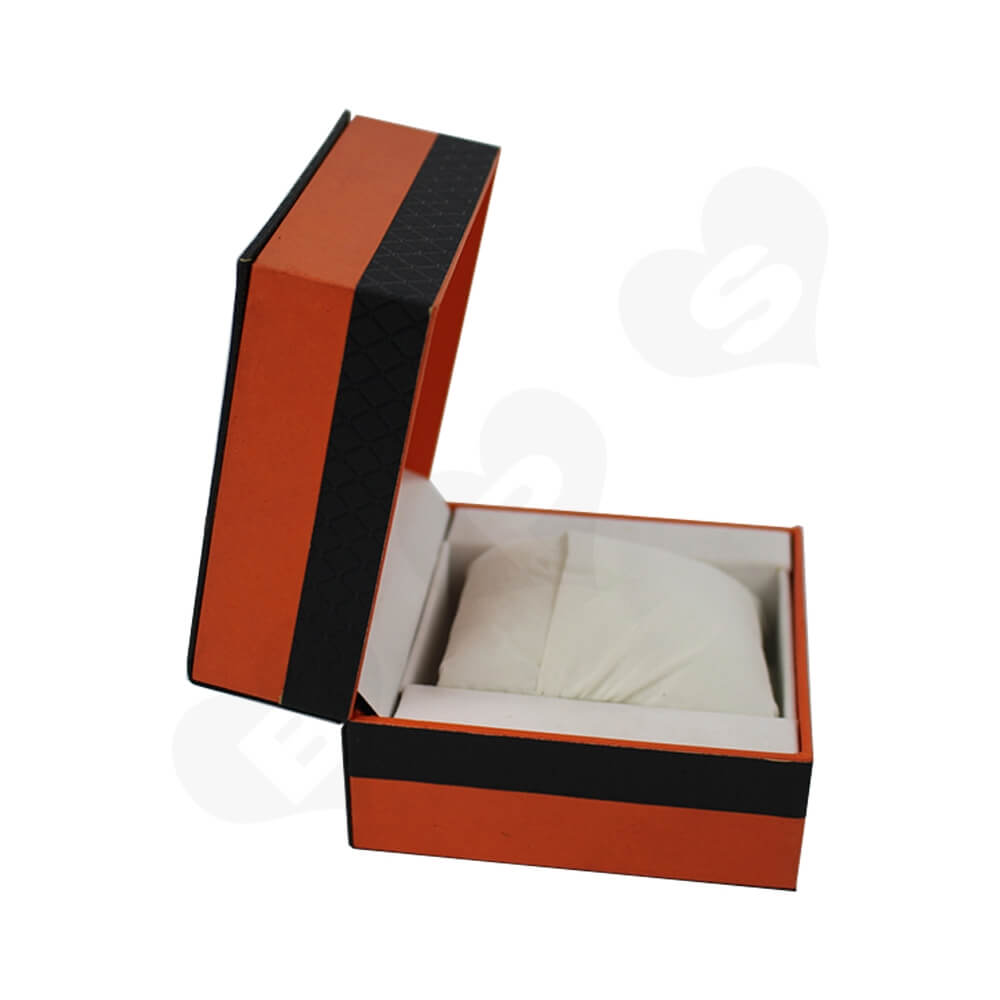 Hinged Lid Gift Box With Texture Pattern For Watch Side View Two