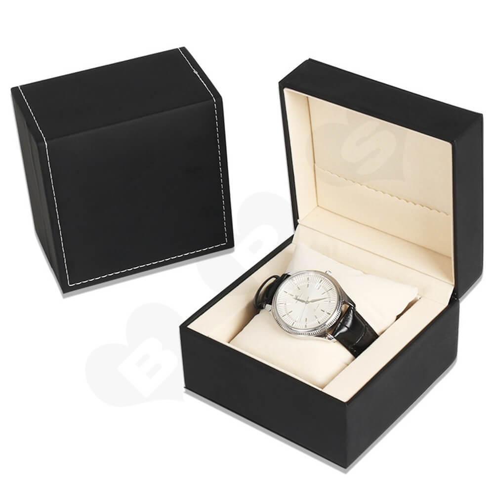 Matte Black Watch Box With Logo Side View Five