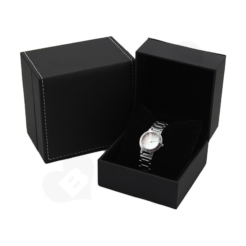 Matte Black Watch Box With Logo Side View Six