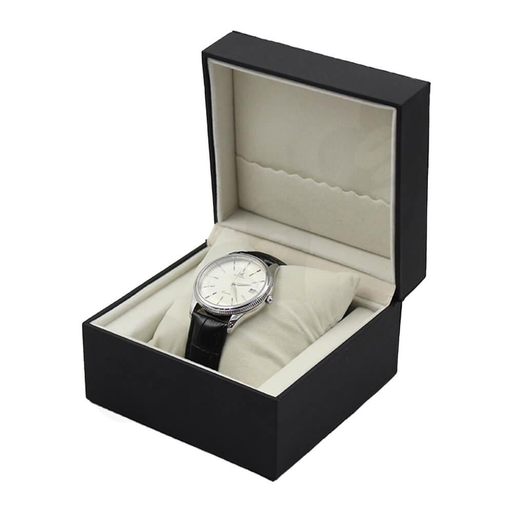 Matte Black Watch Box With Logo Side View Three