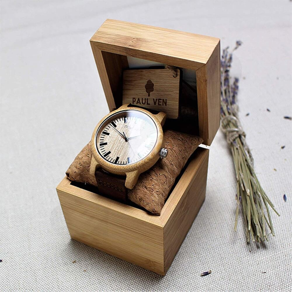Original Wooden Watch Box With Custom Logo Side View Two