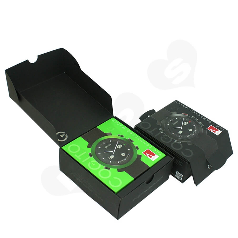 Paper Board Folding Box For Children Watch Side View Four