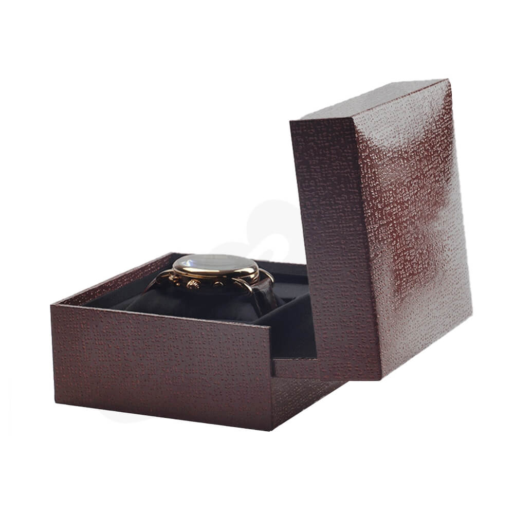 Red Faux Leather Box With Fabric Pillow Cushion For Watch Side View Four