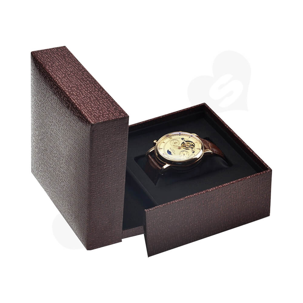Red Faux Leather Box With Fabric Pillow Cushion For Watch Side View One