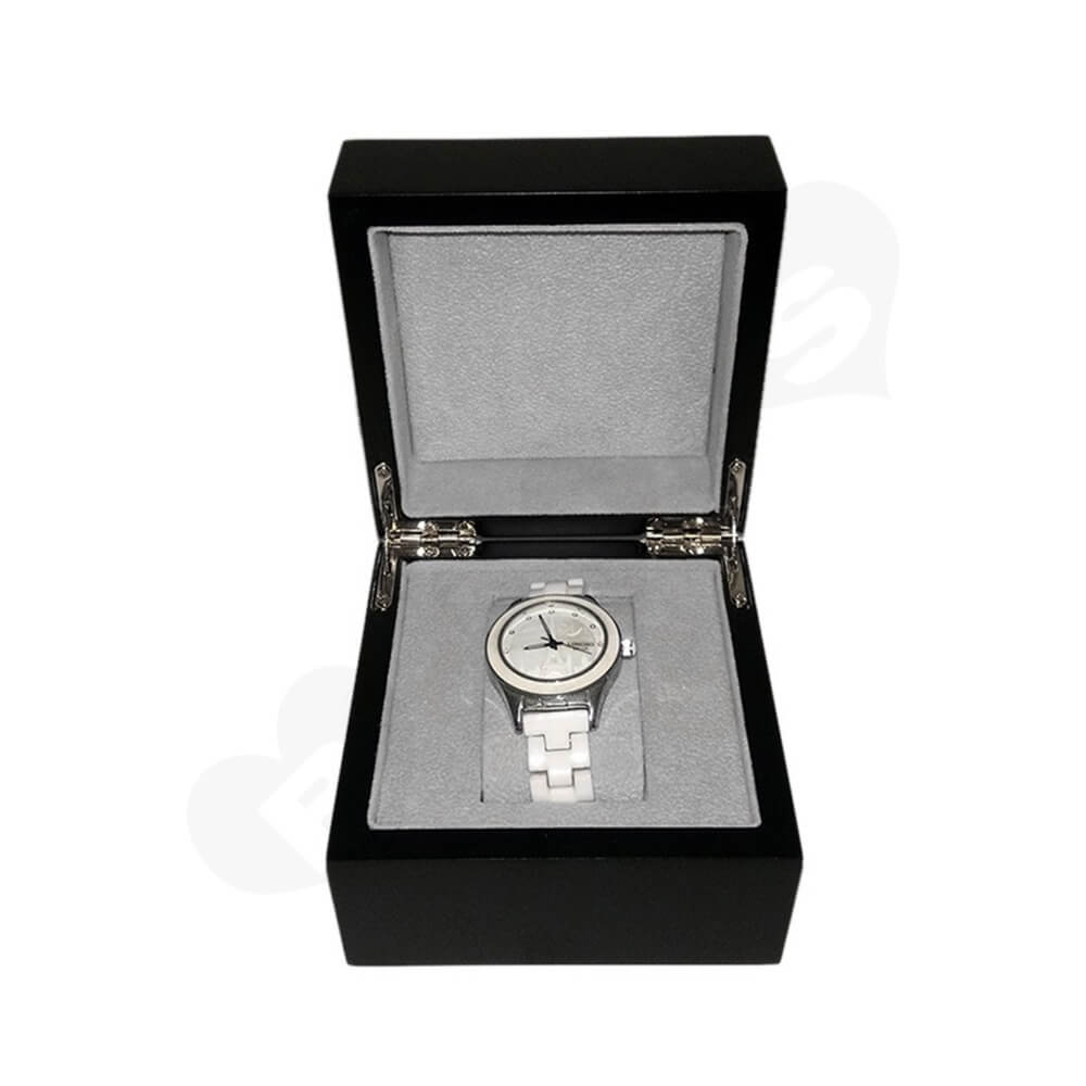 Reinforced Wooden Box For Watch With Fabric Insert Side View Five