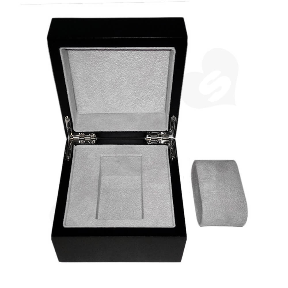 Reinforced Wooden Box For Watch With Fabric Insert Side View One