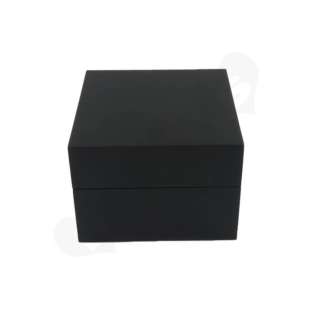 Reinforced Wooden Box For Watch With Fabric Insert Side View Two