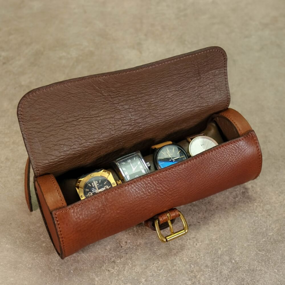 Round Leather Made Watch Organizer Box Side View Four