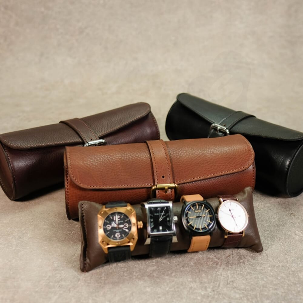 Round Leather Made Watch Organizer Box Side View One