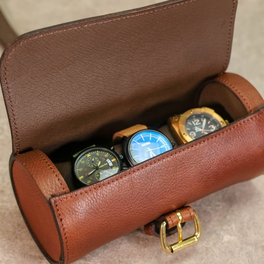 Round Leather Made Watch Organizer Box Side View Two