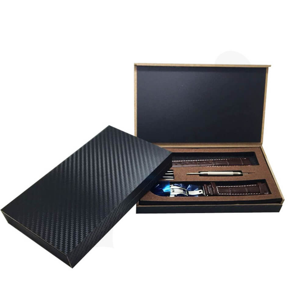 Textured Linen Wooden Box For Watch Kit Side View One