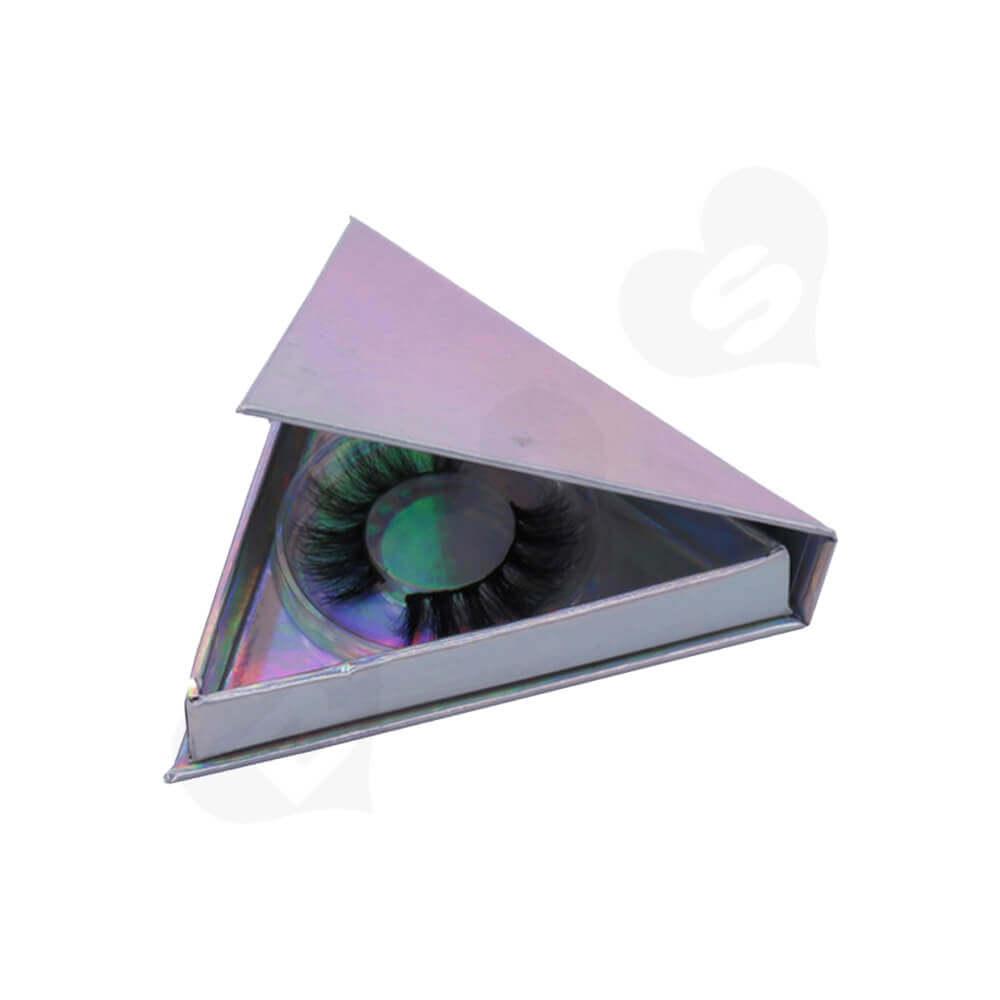 Triangle Shape Eyelash Packaging Box Side View Three