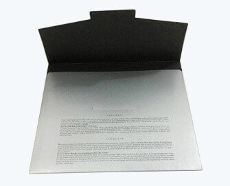 silver metallic printed paper folder
