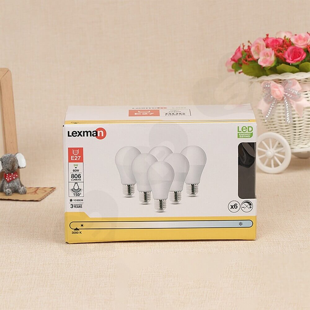 Box With Plastic Window For LED Bulb Side View One