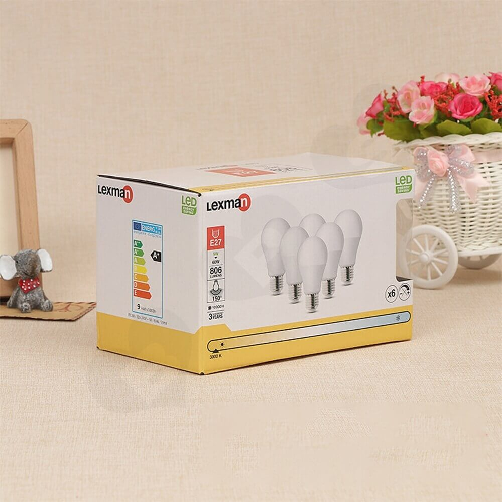 Box With Plastic Window For LED Bulb Side View Three