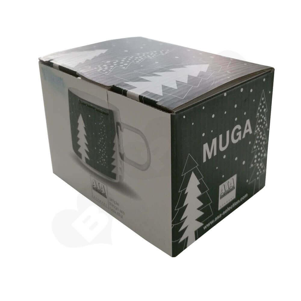 Custom Printed Corrugated Folding Carton For Coffee Mug Side View One