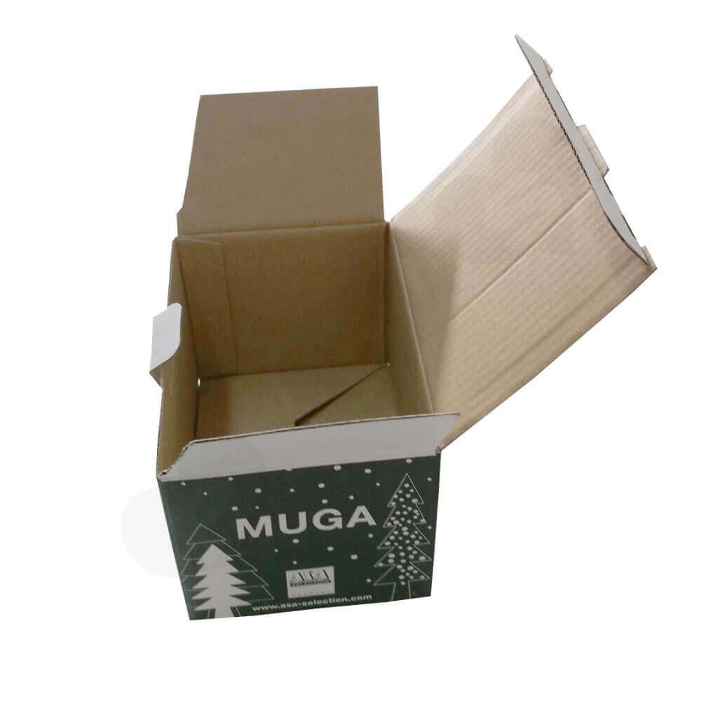 Custom Printed Corrugated Folding Carton For Coffee Mug Side View Three