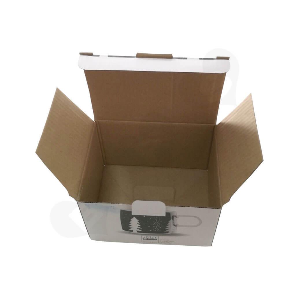 Custom Printed Corrugated Folding Carton For Coffee Mug Side View Two