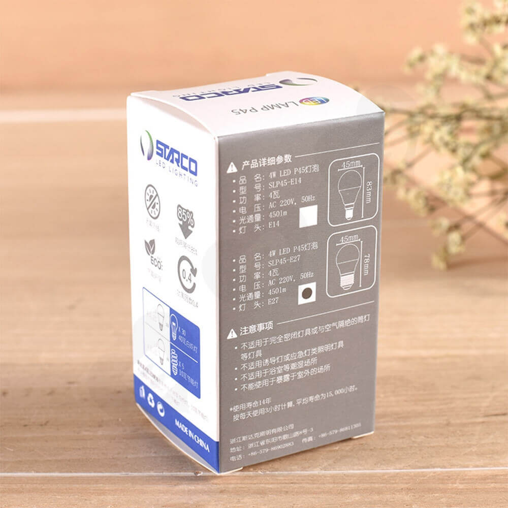 Energy ECO LED Lighting Bulb Packaging Box Side View Four
