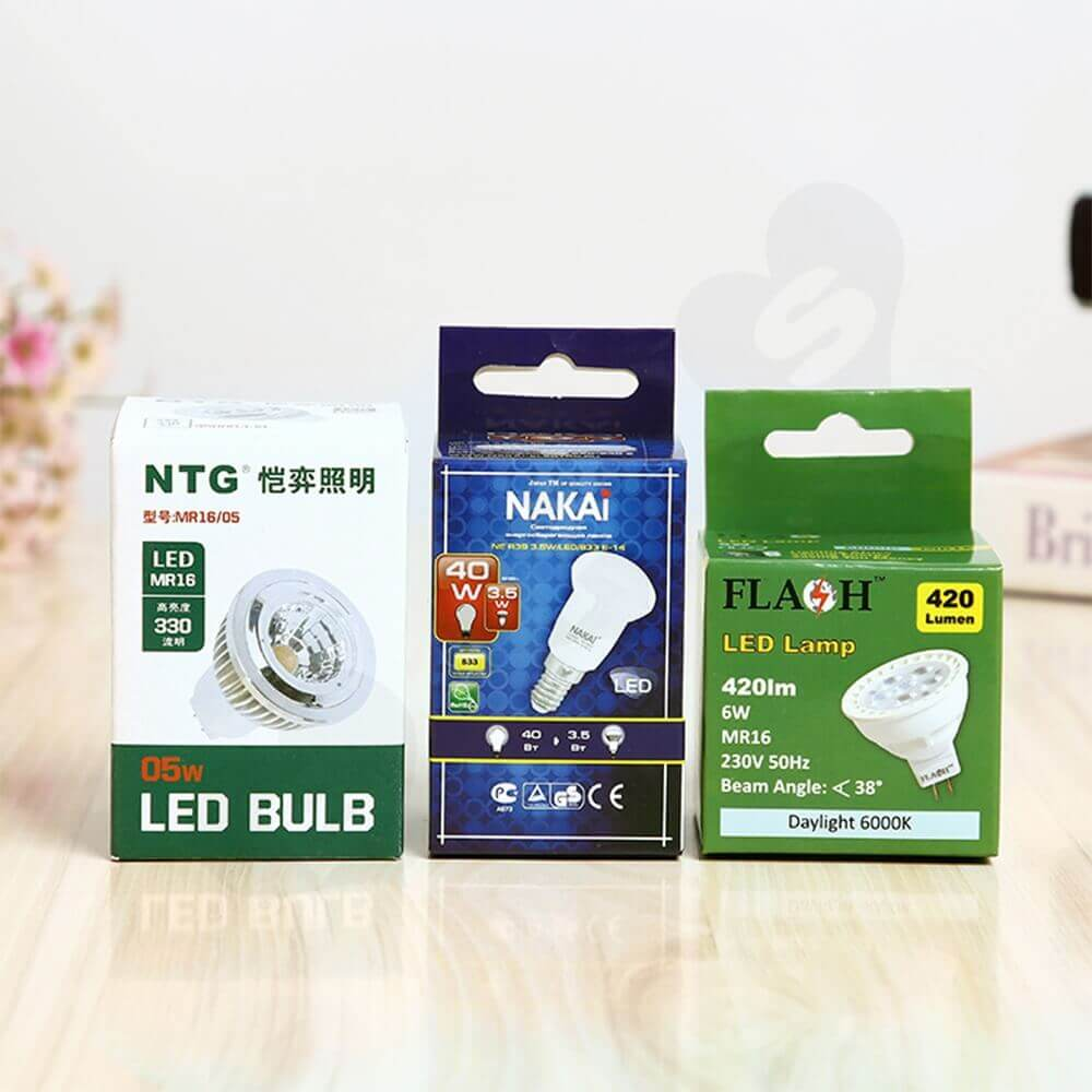 Folding Carton With Hanger For LED Lamp Side View One