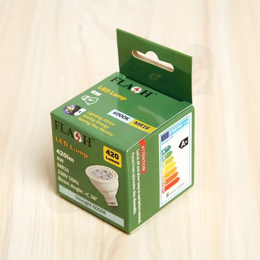 Folding Carton With Hanger For LED Lamp Side View Two