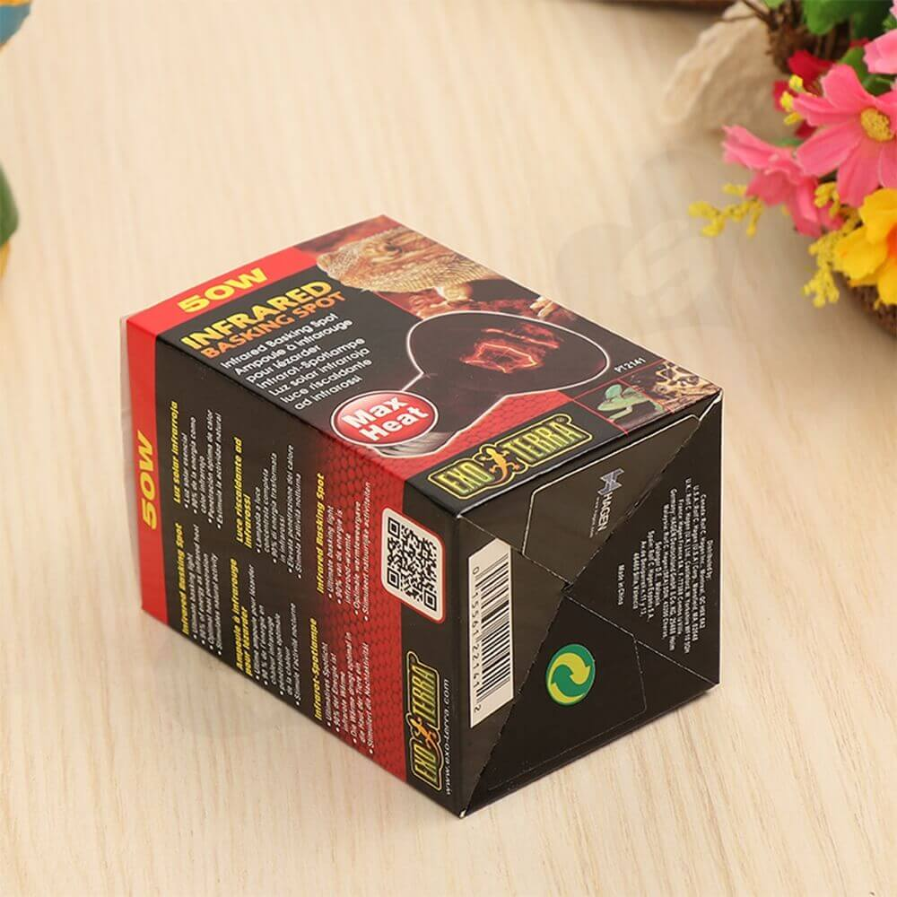 Infrared Basking Spot Lamp Packaging Box Carton Side View Two