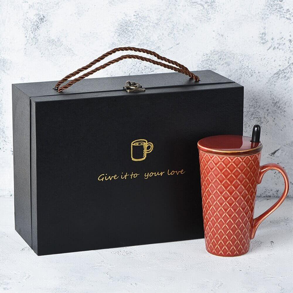 Luxury Gift Box With Handle For Mug Side View Six