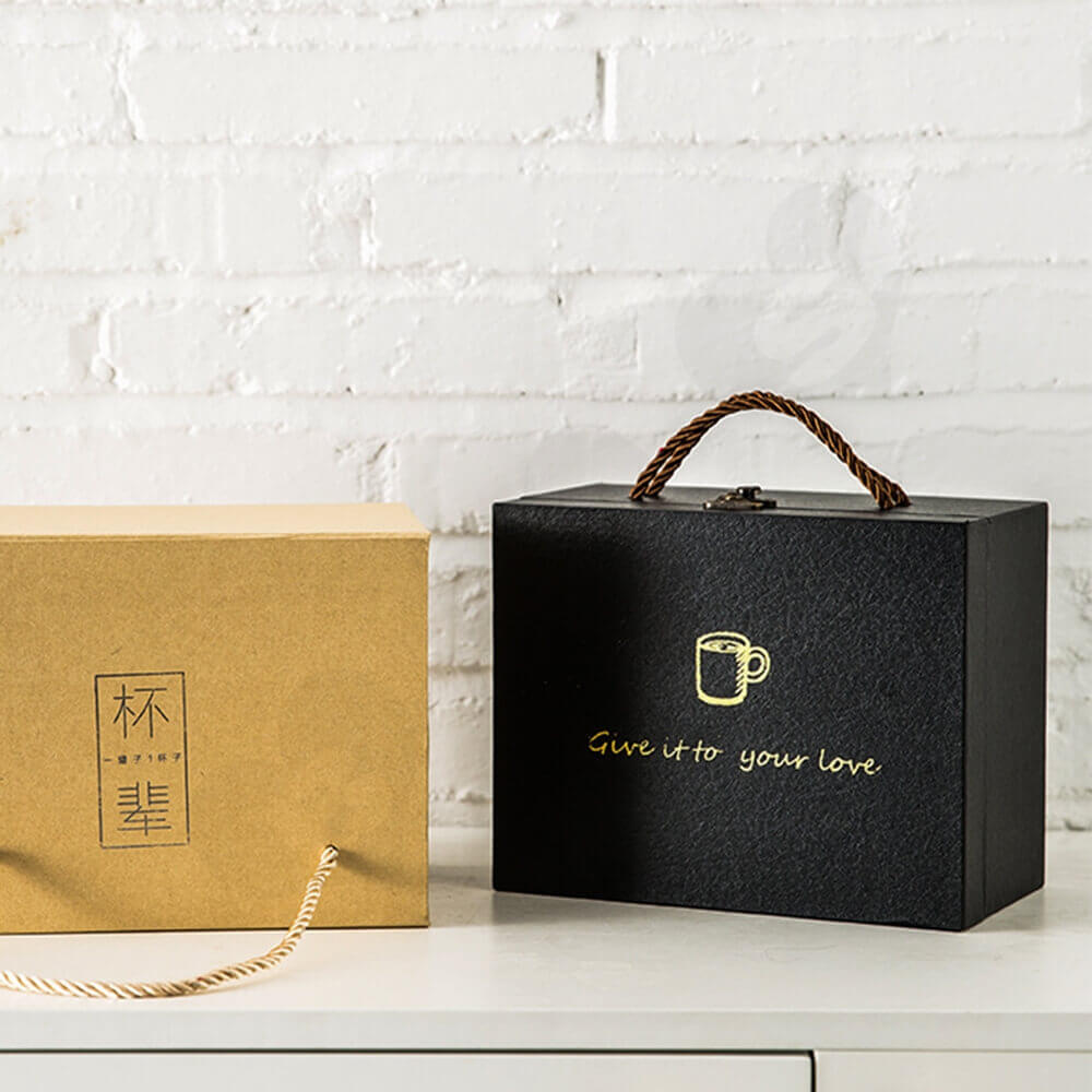 Luxury Gift Box With Handle For Mug Side View Three