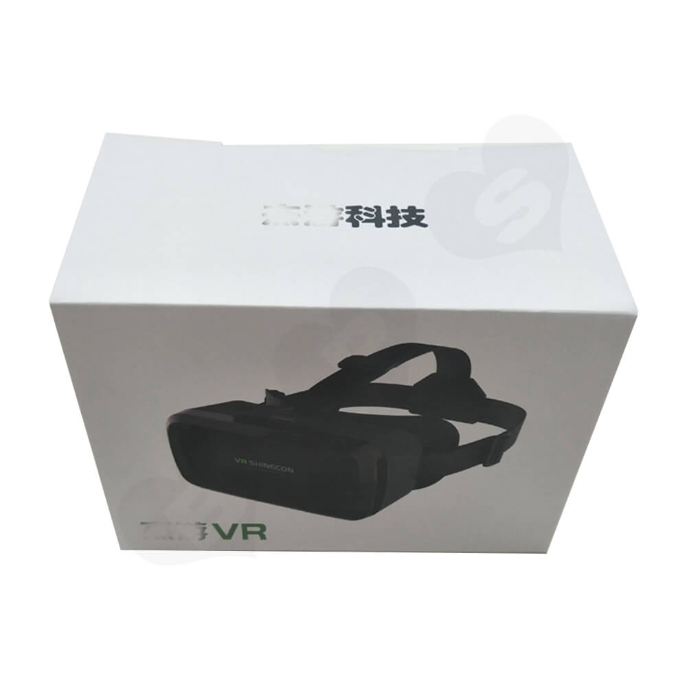 White Cardboard Box With Printing For VR Goggle Side View One