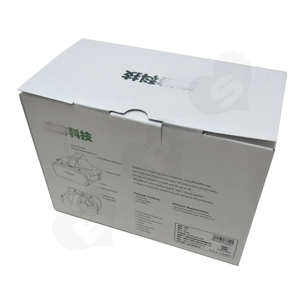 White Cardboard Box With Printing For VR Goggle Side View Three