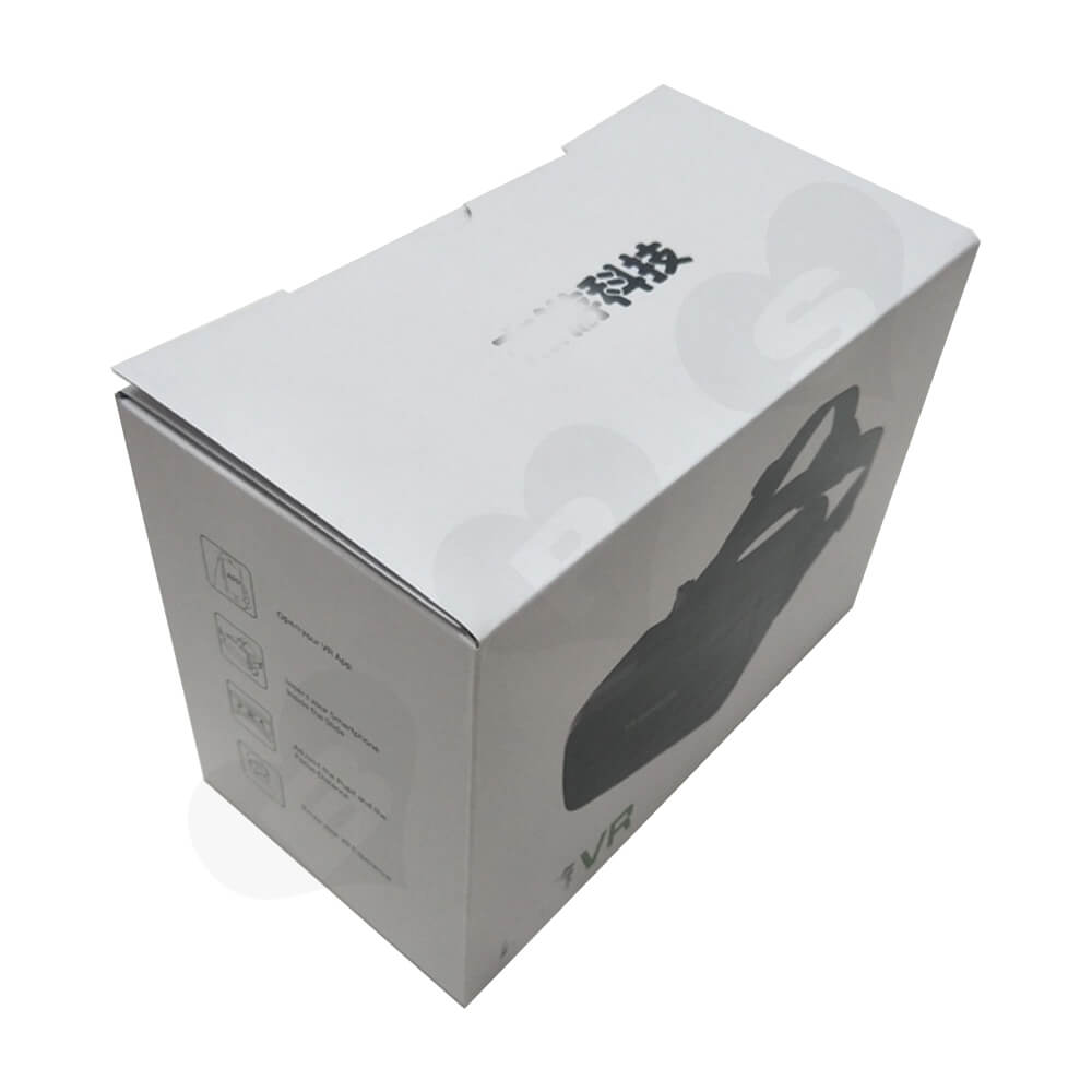 White Cardboard Box With Printing For VR Goggle Side View Two