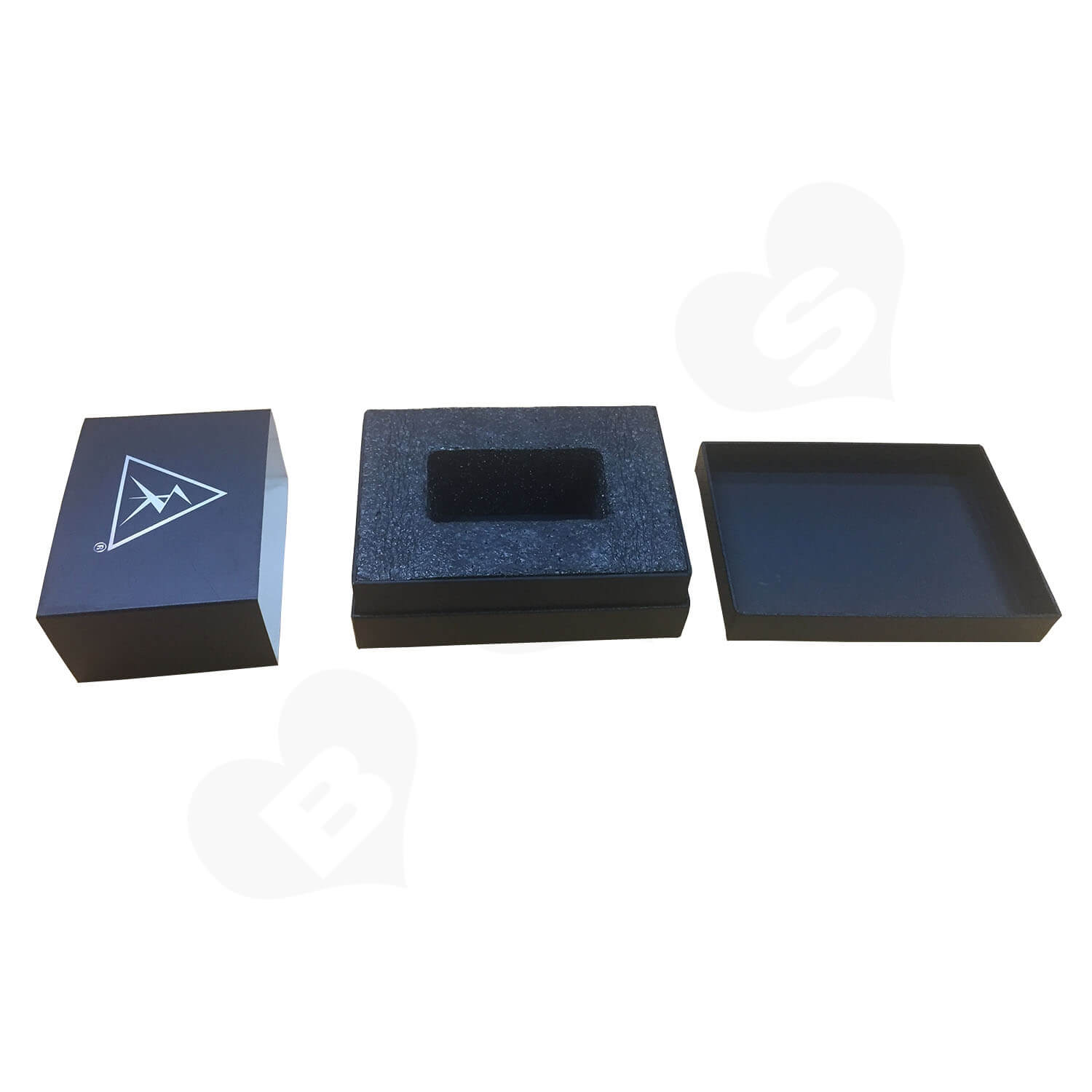 Black Texture Raphe Rigid Box With Paper Sleeve Side View 1