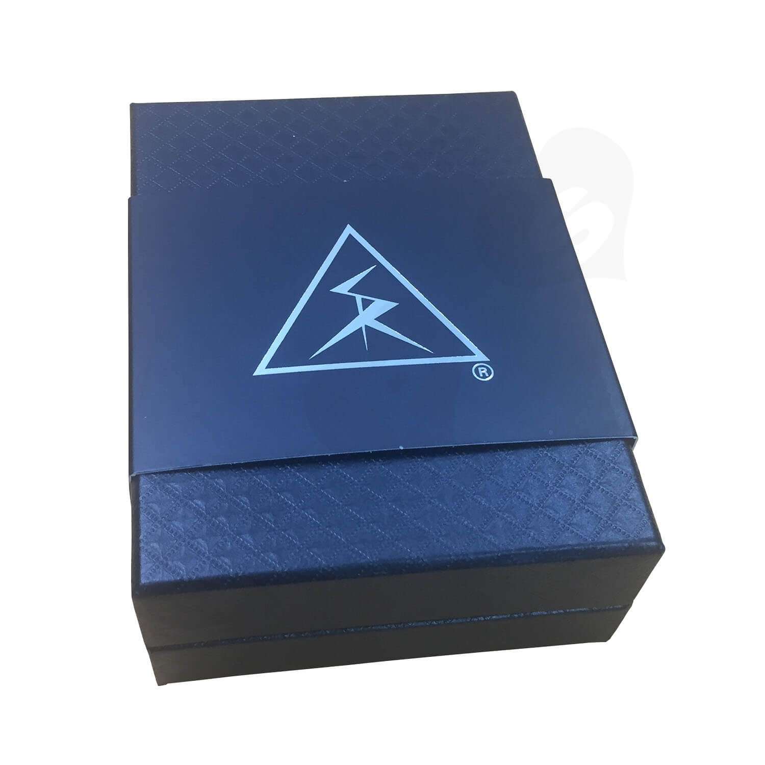 Black Texture Raphe Rigid Box With Paper Sleeve Side View 3