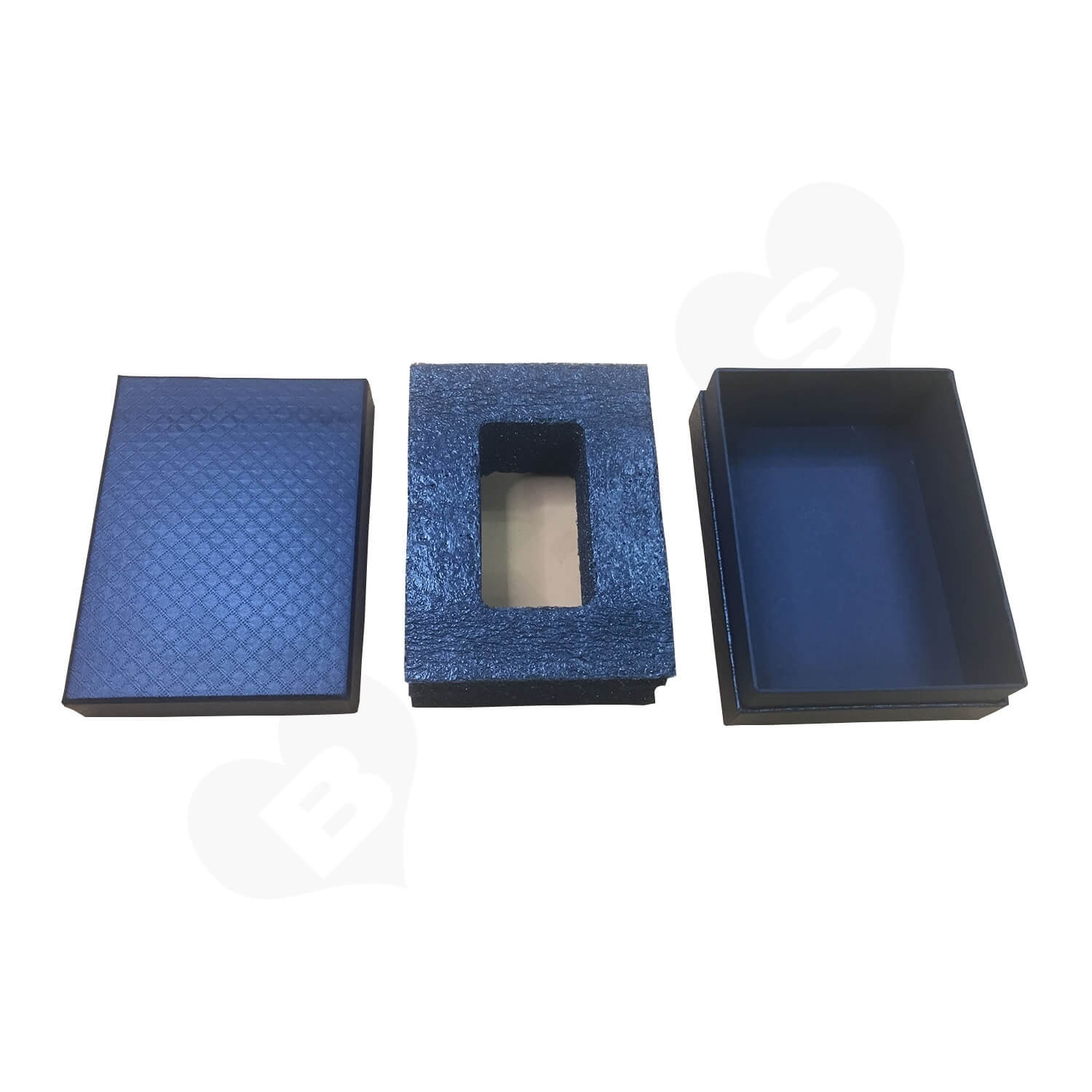 Black Texture Raphe Rigid Box With Paper Sleeve Side View 4