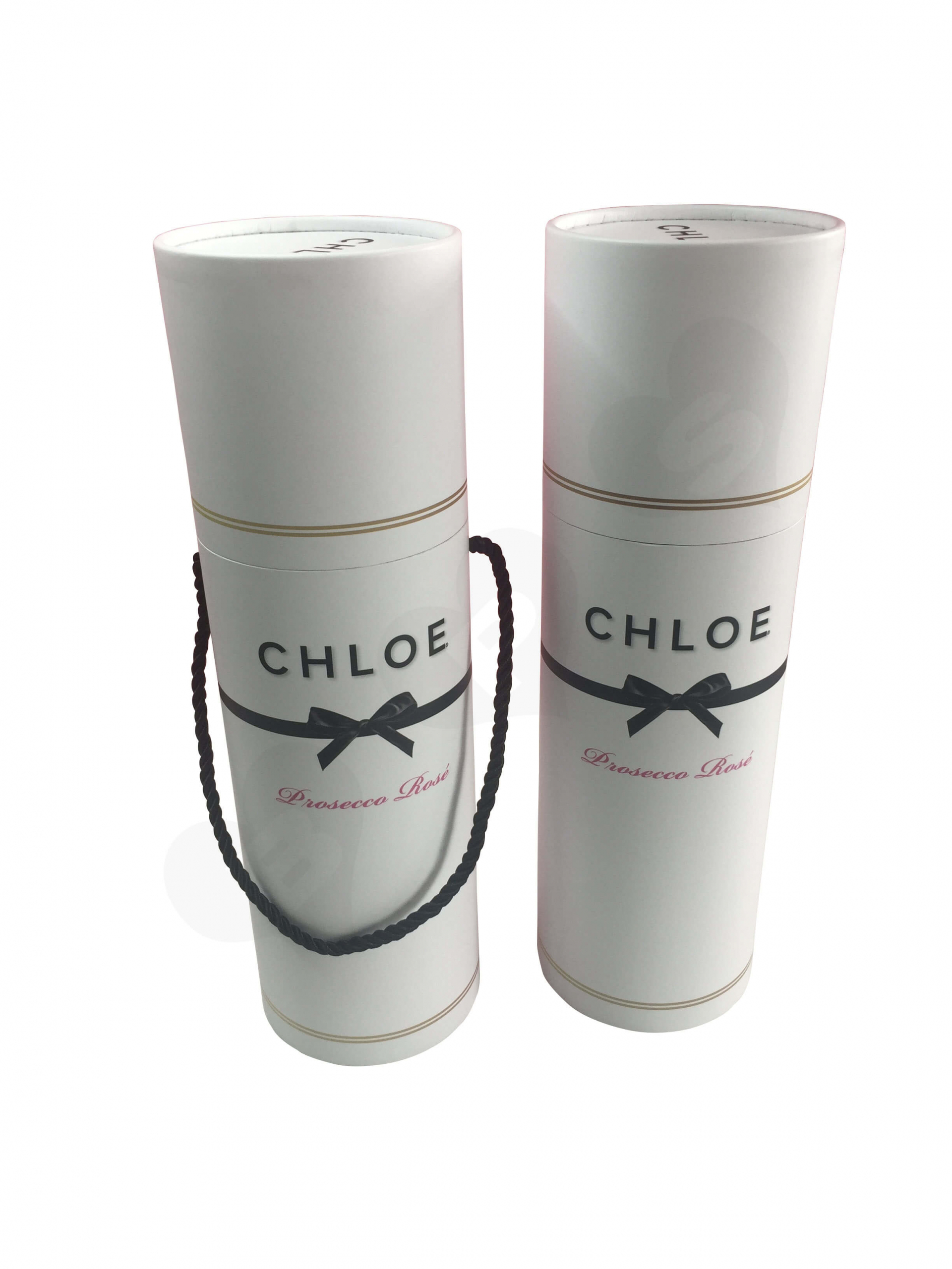 Custom Cylinder Wine Bottle Package With Rope Handle Side View 2