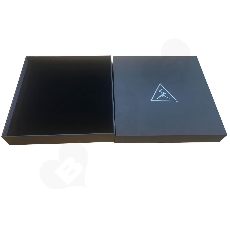 Custom POWER CABLES Textured Rigid Black box Side View 3