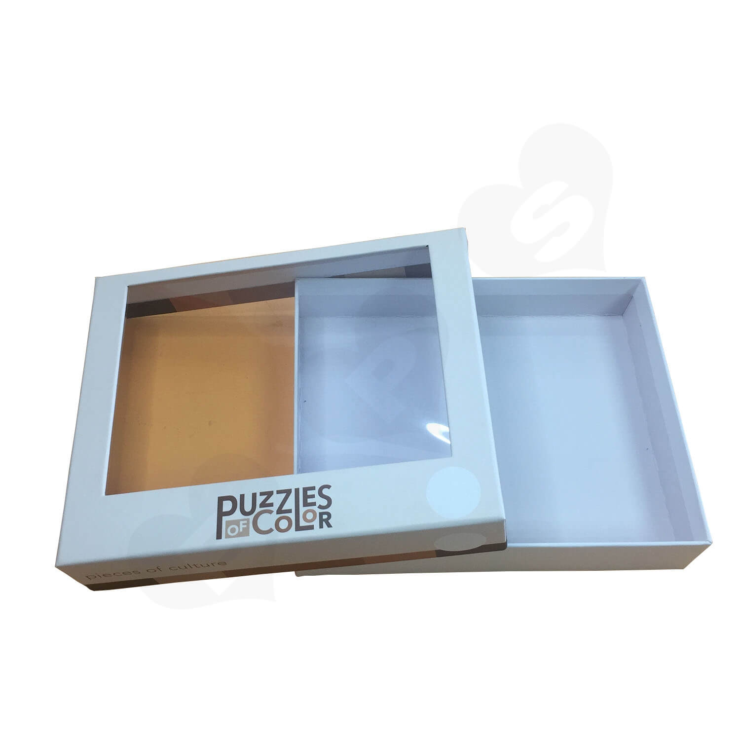 Custom Printed Lift off Lid Puzzle Boxes With PVC Window Side View 4