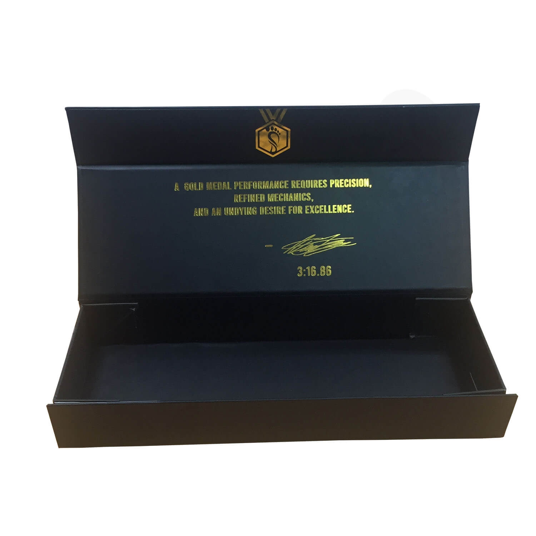 Custom Rigid Collapsible Matte Black Magnetic Closure Box Side View 2