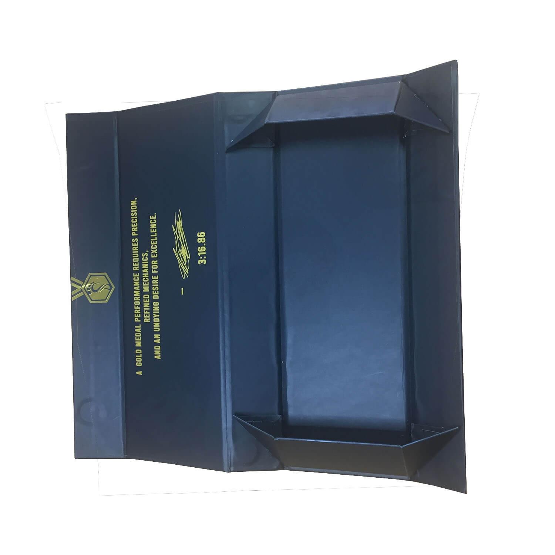 Custom Rigid Collapsible Matte Black Magnetic Closure Box Side View 3
