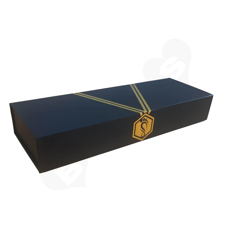 Custom Rigid Collapsible Matte Black Magnetic Closure Box Side View 4