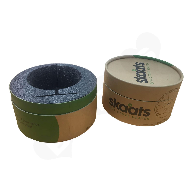 ECO Fan Custom Kraft Tube With Die Cut Foam Insert Side View 1