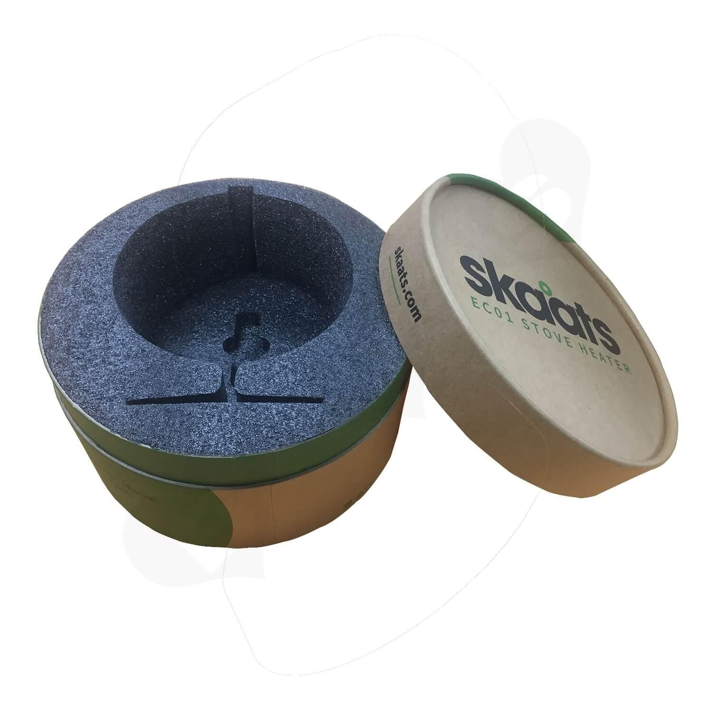 ECO Fan Custom Kraft Tube With Die Cut Foam Insert Side View 6