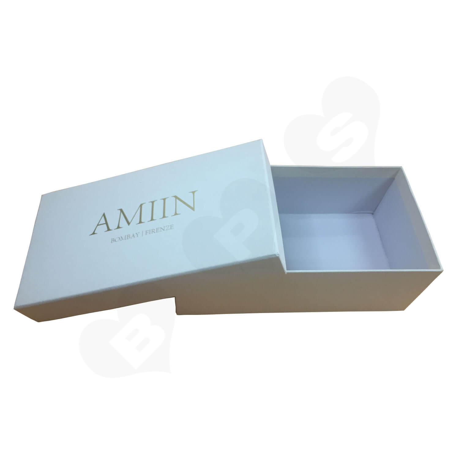 Specialty Paper Gold Foil Logo Stamped Shoe box Side View 3